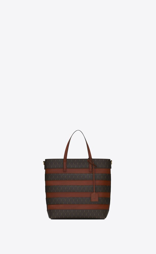 le monogramme saint laurent shopping bag in canvas and smooth leather