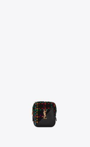 jamie cube charm in tweed a quadri e pelle di agnello