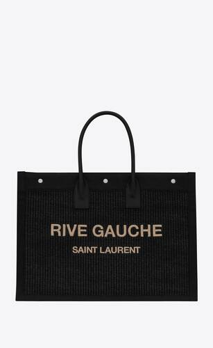 rive gauche large tote bag in embroidered raffia and leather