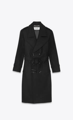 oversized belted coat in wool twill