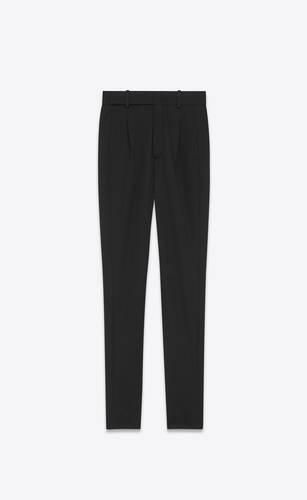 pantalones de talle alto de twill de lana
