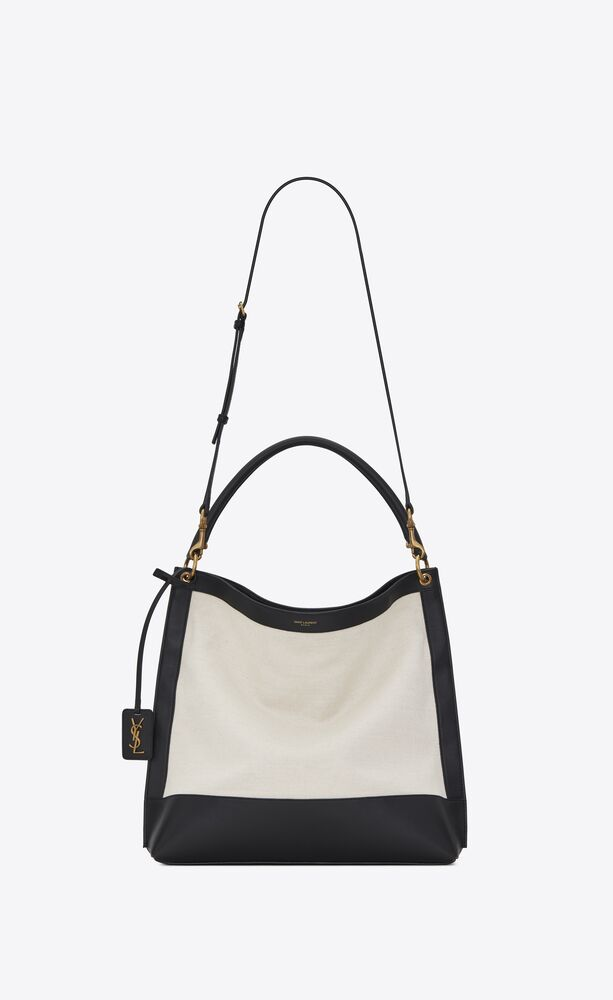 tag hobo bag in canvas and leather