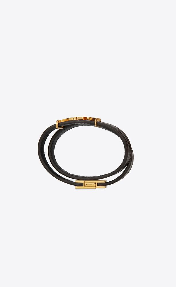 opyum double wrap bracelet in shiny crocodile-embossed leather and metal