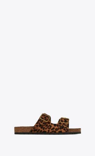 flache jimmy sandalen mit leoparden-print und pony-effekt
