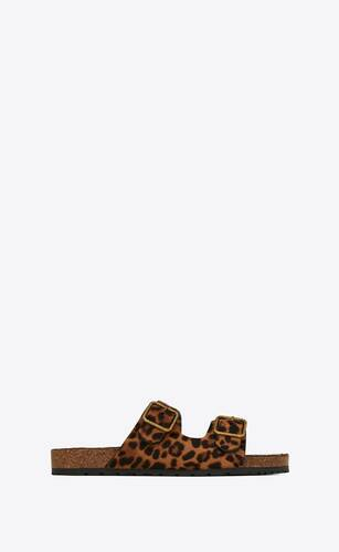 jimmy flat sandals in leopard print pony effect leather