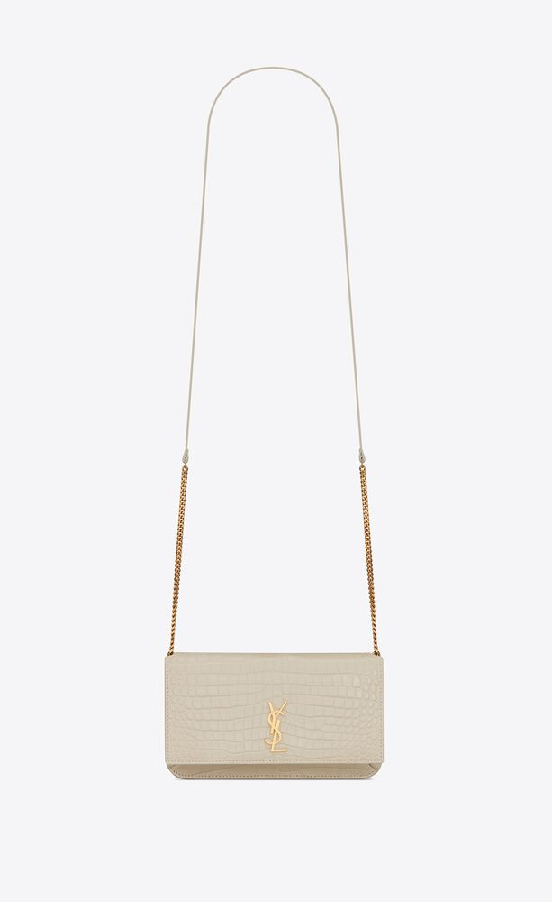monogram phone holder with strap in crocodile-embossed leather