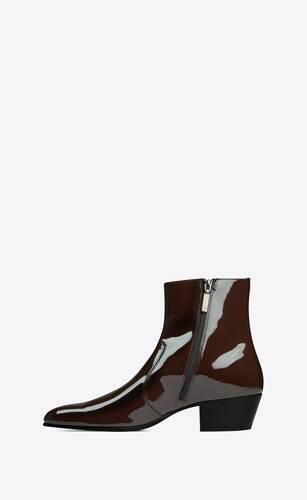 cole stiefel mit reißverschluss aus lackleder