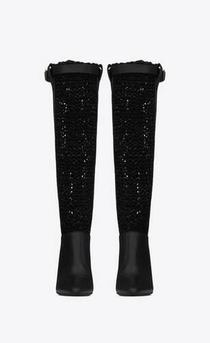 kim boots in thick fishnet lambskin