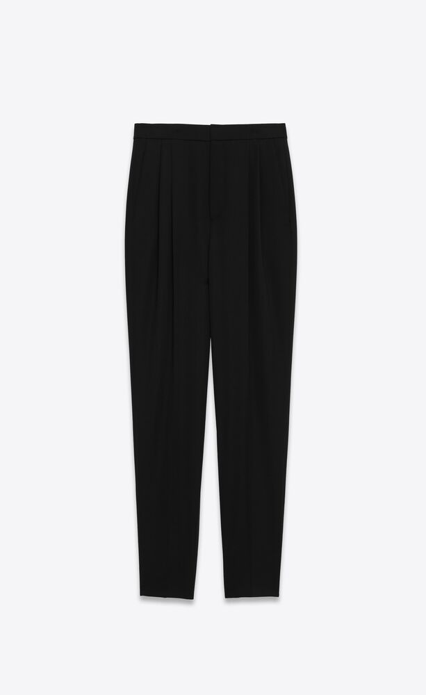 pleated high-rise pants in grain de poudre saint laurent