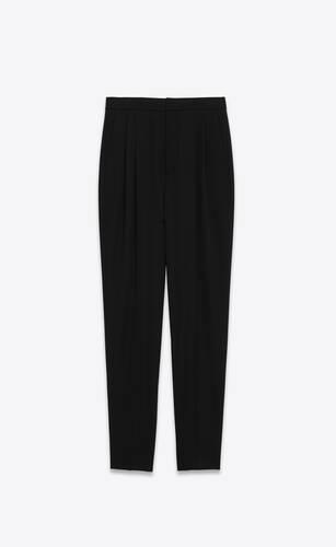 pantalones plisados de talle alto de grain de poudre saint laurent