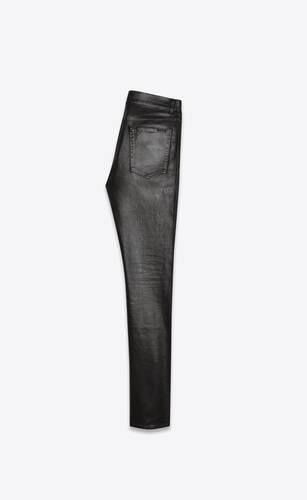 skinny jeans in oily coated black stretch denim