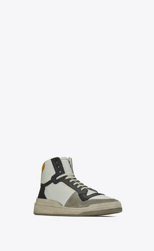 sl24 mid-top sneakers in grained leather and suede