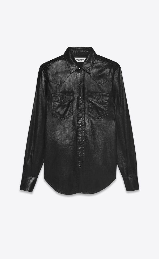 klassisches westernhemd aus schwarzem vinyl-denim