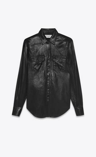 classic western shirt in black vinyl denim