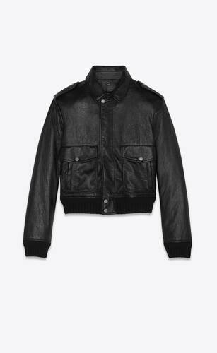 bomber jacket in leather and shearling