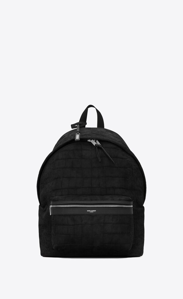 city backpack in crocodile-embossed nubuck