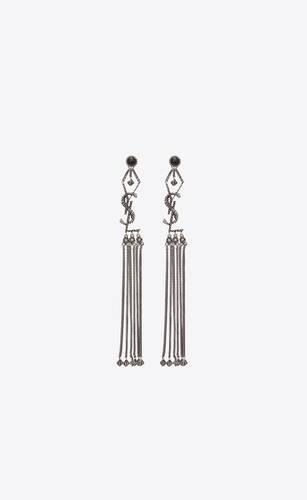 monogram textured tassel earrings in metal and glass