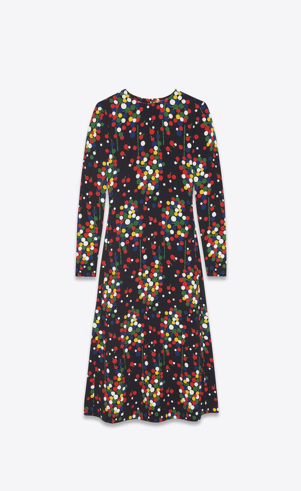 long flared dress in confetti-print sablé
