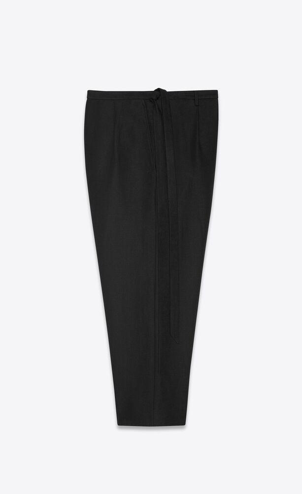 pantalones capri con pliegues tipo hakama atado de lino y algodón