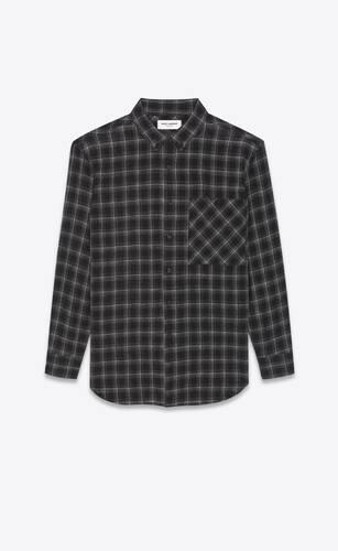 oversized shirt in checked nylon wool