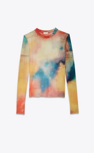 knit sweater with an all-over watercolor print