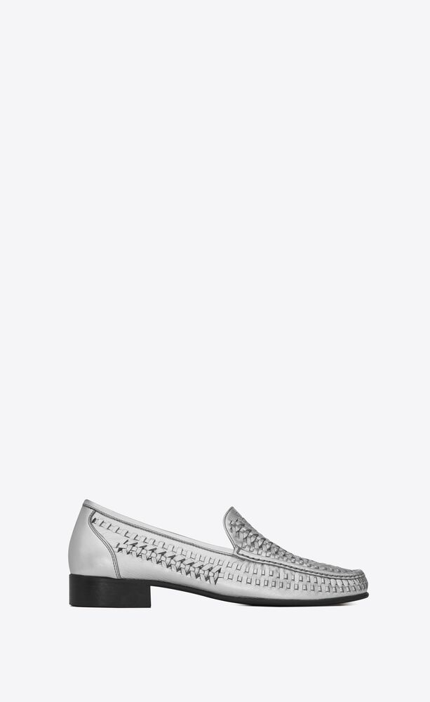 swann loafers in metallic braided leather