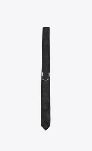 narrow tie in silk palm jacquard