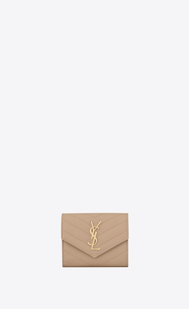 monogram compact tri fold in grain de poudre embossed leather