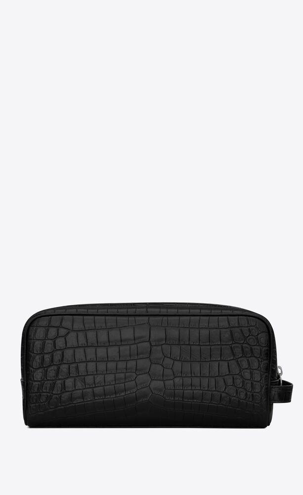 grooming case in crocodile-embossed matte leather