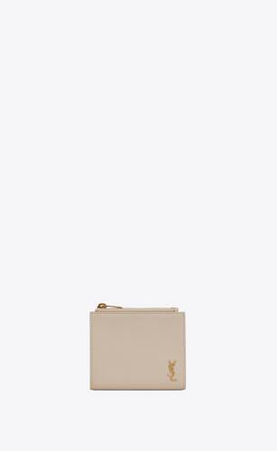 tiny monogram zip card case in grained leather