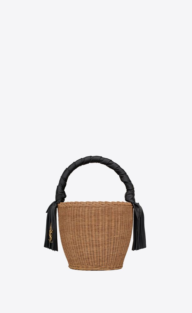 panier round bag in wicker and leather
