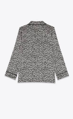pajama set in leopard patterned satin silk