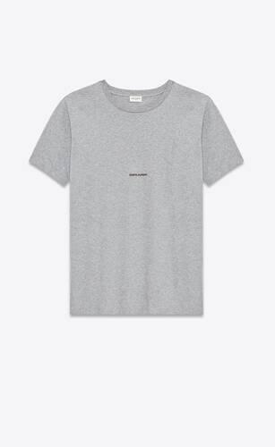 t-shirt saint laurent square in jersey di cotone  grigio mélange
