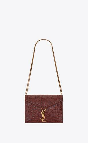 cassandra monogram bag in crocodile-embossed leather