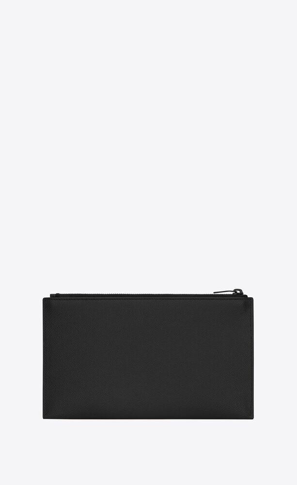 monogramme bill pouch en cuir embossé grain de poudre