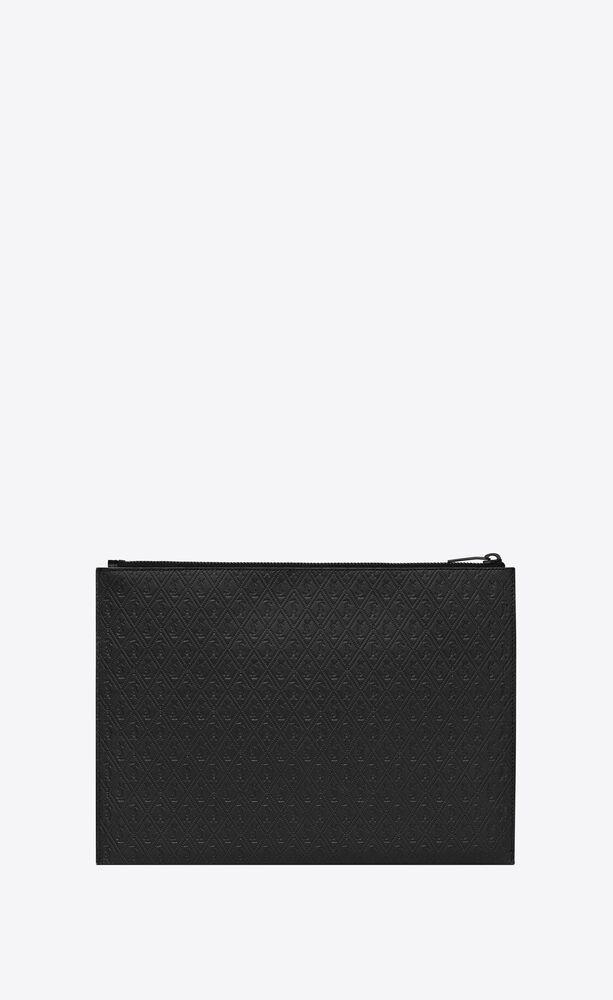 monogram étui pour tablette en cuir lisse embossé
