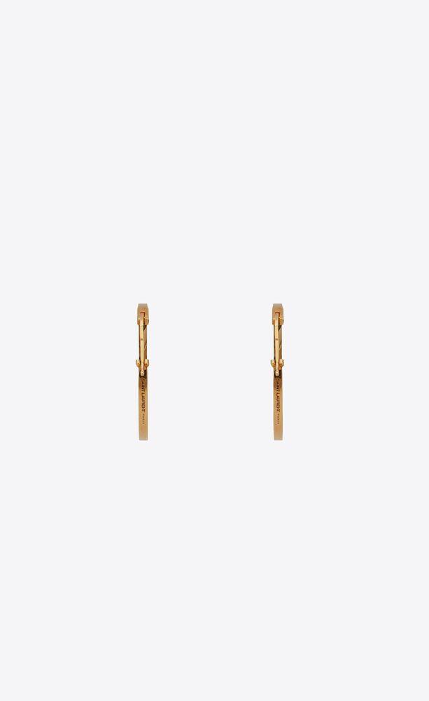 three-sided hoop earrings in metal