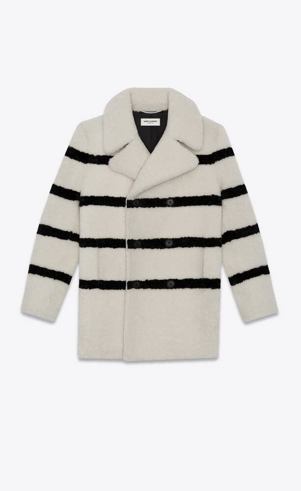 striped shearling pea coat