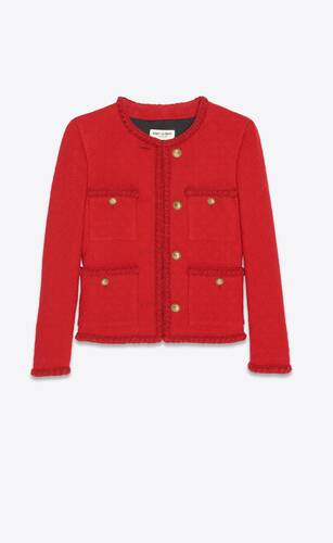 short jacket in diamond-embossed tweed