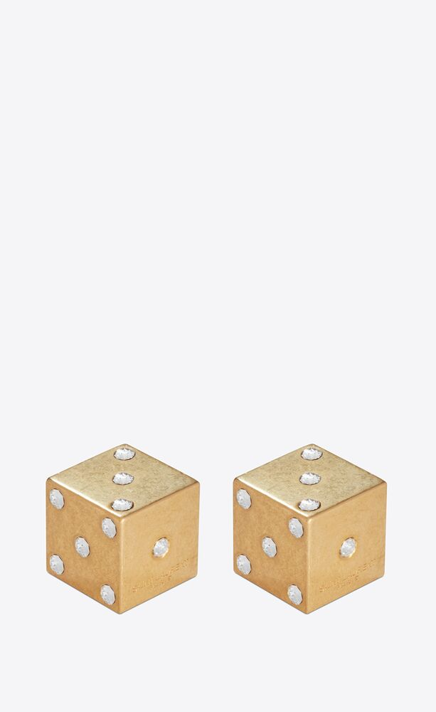 crystal-embellished dice in brass