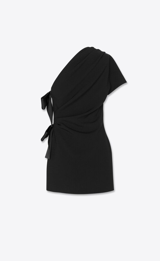 one-shoulder dress with bows in sablé saint laurent