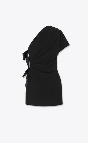 vestido asimétrico con lazos de sablé saint laurent