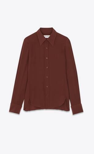 camicia aderente in seta crêpe de chine