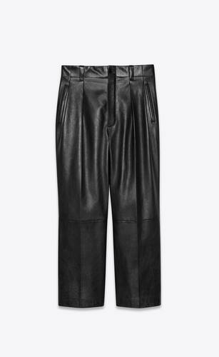 wide-leg pleated pants in lambskin