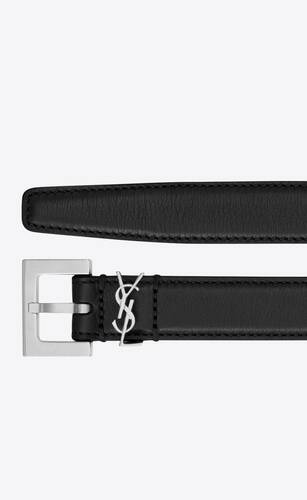 monogram narrow belt with square buckle in smooth leather