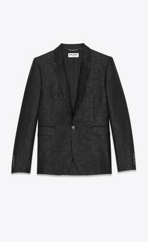 tailored jacket in wool and silk floral jacquard