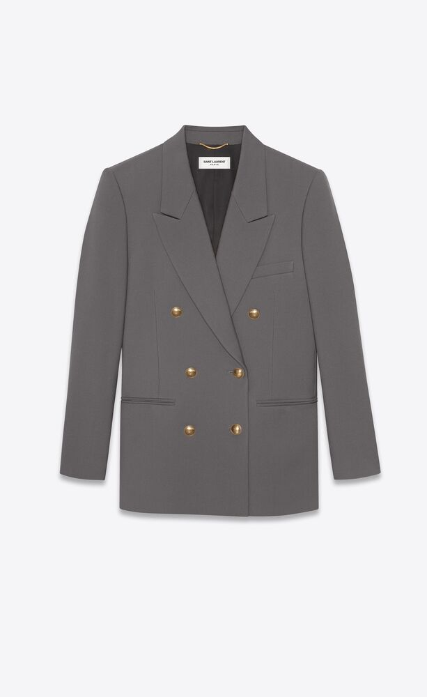 double-breasted jacket in wool gabardine