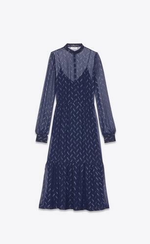 long lavallière-neck dress in lamé silk crepe