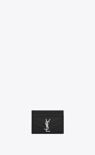 saint laurent kreditkartenetui aus schwarzem matelassé-leder mit struktur