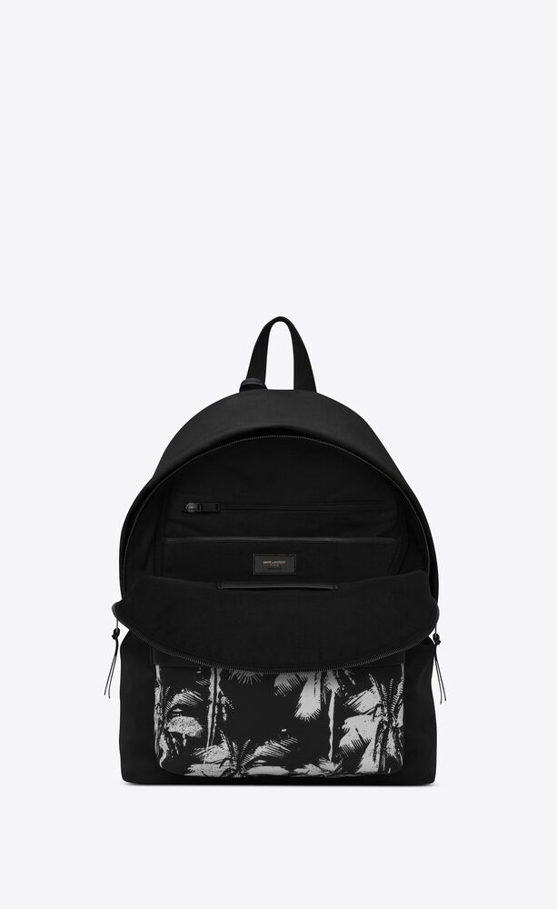 city backpack in canvas and palm-print nylon